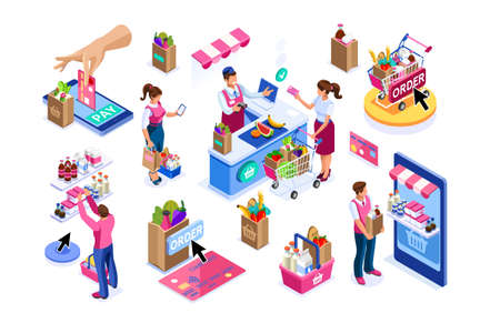 Goods purchases, cartoon set. Paying customers with trolley, supermarket line grocery. Supermarket customer, cartoon goods buying with trolley. Flat groceries purchaser collection, buyers group vector Ilustracja