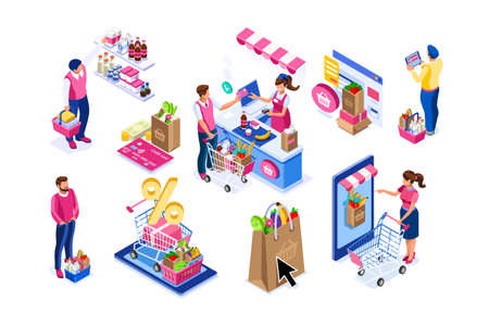 Goods purchases, cartoon set. Paying customers with trolley, supermarket line grocery. Supermarket customer, cartoon goods buying with trolley. Flat groceries purchaser collection, buyers group vector