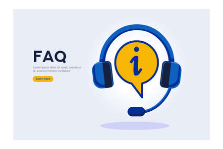 Technical faq to ask information or solution research info Ilustracja