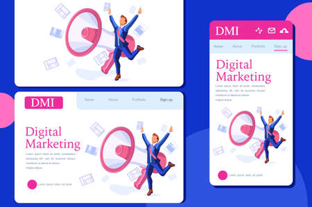 Commercial promotion announcement or message. Public global promotion on bubbles. Commercial announcement, working to promote attention on service, speech about big service concept. Flat vector.