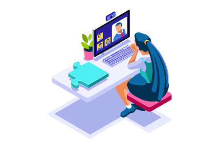 Concept of freelancer at home set. Working relaxed, work comfortable, set of workplaces with homes and characters. Freelancer woman on freelance concept. Isometric Illustration Vector Design. Ilustracja