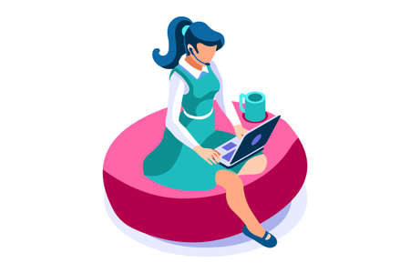 Talking online, concept of working at home. Character sitting at the office looking screen on the desk. Office character working online. Woman at home sitting looking for work. Flat Vector