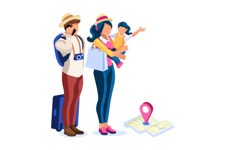 Tourism, character with map and camera take travel. Hipster group vacation, urban group on travel with camera. Cartoon characters, tourists. People in Europe, tourism concept. Illustration Vector.