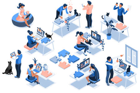 Worker room, female workplace. Home job, girl at the desk online, sitting and working online. Girl at home, worker sitting, room workplace for job, desk of freelance character. Collection flat Vector.