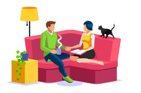 Female and Male Characters together at home, couple relaxing on the weekend, leisure and love concept. Time for books, time for leisure relax at home. Isometric Illustration Flat Vector.
