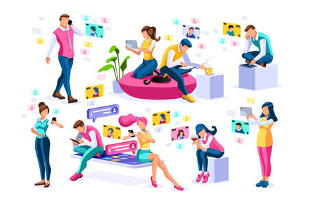 Social media, young girls chatting on female smartphones talking on video or social photos. Character app, photo and video on smartphone. Chat media group concept cartoon characters collection vector.
