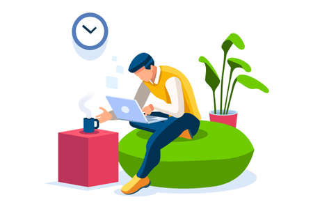 Talking online, concept of working at home. Character sitting at the office looking screen on the desk. Office character working online. Man at home sitting looking for work. Flat Vector Illustration