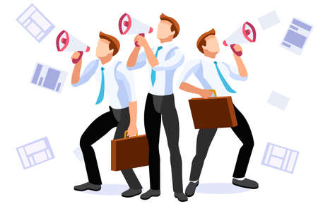 Public speech, promotion with megaphone or social alert. Megaphone cartoon symbol. Promotion work, speech for marketing. Public and advertising for a team media relations. Social media concept Vector.