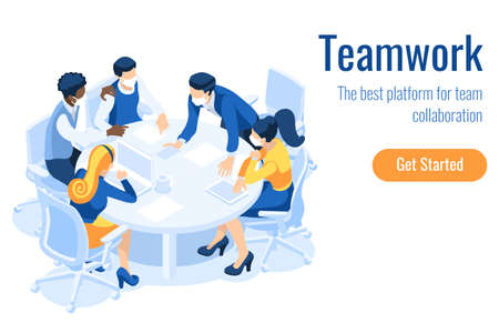 Cartoon characters on a project, brainstorm process on the board. Teamwork at the desk and board. Team processing an office brainstorming, people's project for a meeting. Character cartoon Vector. Ilustracja