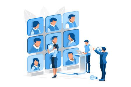 Hiring vector illustration. Searching job flat tiny persons isometric concept Ilustracja