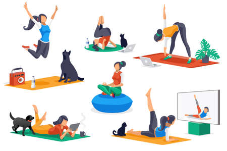 Yoga doing activities. Yoga characters, workout for people stretching in healthy poses. Leisure, female sports, different female poses stretching workouts. Cartoon girl character. Flat concept Vector. Ilustracja