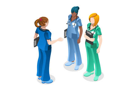 Doctor surgeon healthcare nurse in uniform. Clinic staff, medicine occupation, with stethoscope. Professions of the hospital, hold profession occupation for staff in uniform, hospital surgeon or nurse