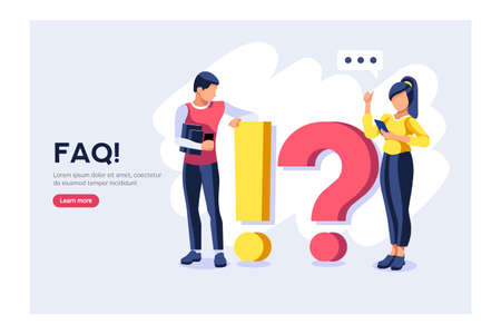 Character on research technical solution. Question information query, ask support faq, problem answer, help. Problem support, query question, technical faq to ask information or solution research info Ilustracja