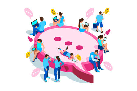 People on smartphone chatting with digital clients on service for chat. Characters on flat vector illustration