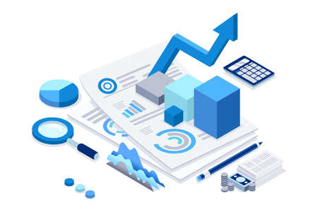 Filling tax documents for calculation. Characters preparing graph charts. Accounting concept on a cartoon vector illustration.