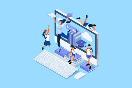 Concept of studying in network and looking for education or diploma. Learning in class with work books, students on the desk with book and laptop, home study concept. Flat Vector Illustration