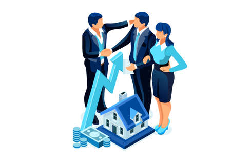 Symbolic Finance Icons. Invesor Characters, People Invest on Rental Real Estate Ownership as Management of Personal Financial Plan for Budget Growing. Flat Cartoon Vector Illustration.