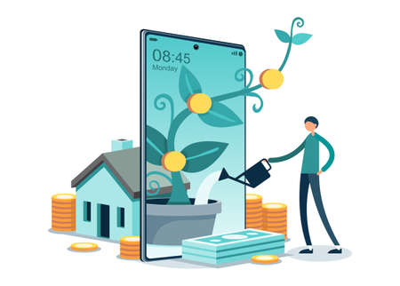 Symbolic Financial Plan Icons. People Characters Invest or Manage Family Savings for Rich Life and Balance Budget Revenue and Gain. Money Tree, Gold Symbol, Banknotes Flat Cartoon Vector Illustration. Ilustracja