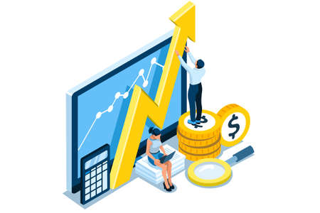 Symbolic Revenues, Returns Symbol. Concept of Earnings Growth, Stock Dividend Yield Curve, Analysis of Results. Vector illustration, graphic design for flat web banners. Ilustracja