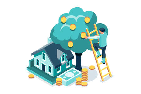 Symbolic Richness Managing, Money Symbol. Graphic Design of Coins Tree and Data of Economic Earnings for Rich Savings and Profits. Banknotes signs on vector illustration, concept for flat web banners. Ilustracja