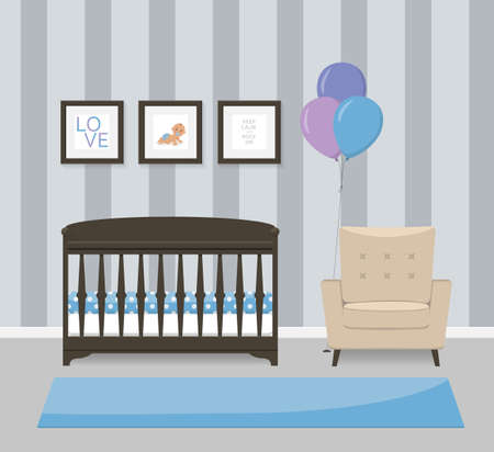 Baby room interior design in blue colors. Crib, armchair and framed pictures. Flat style vector illustration.