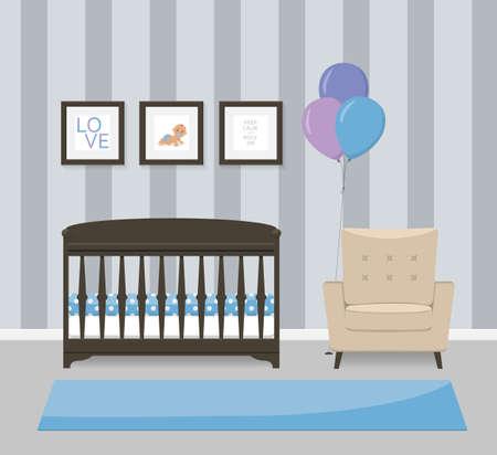 Espace bébé design d'intérieur dans les couleurs bleu. Lit, fauteuil et des photos encadrées. Flat illustration vectorielle de style.