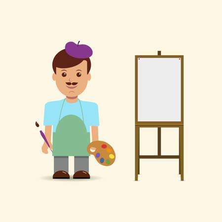 painter cartoon: Vector illustration artist and easel. Illustration