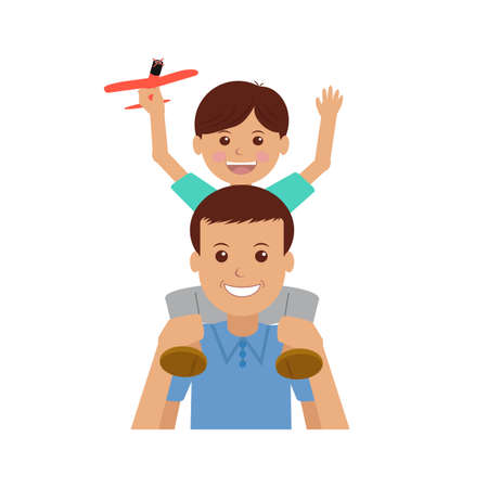 foster parenting: Father and child. Isolated objects on white background. VECTOR.