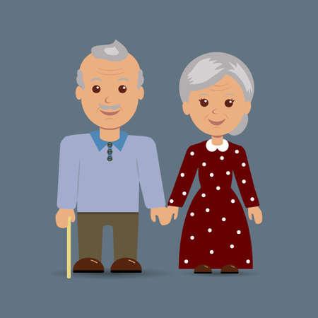 happy older couple: Grandparents together on the dark background.