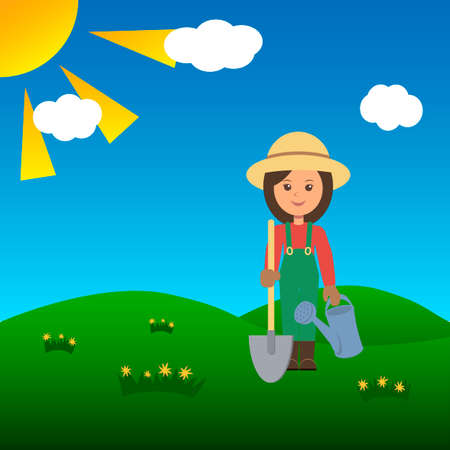 an agronomist: Gardener woman in a field with shovel. Vector illustration.