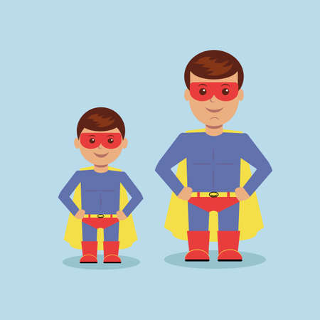 sexy muscular man: Dad and son dressed as a superhero. Vector illustration Illustration
