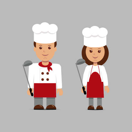 master chef: Man and woman in the form of chefs on a gray background.