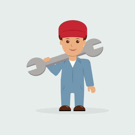 mechanic tools: Illustration of mechanic holding a wrench.