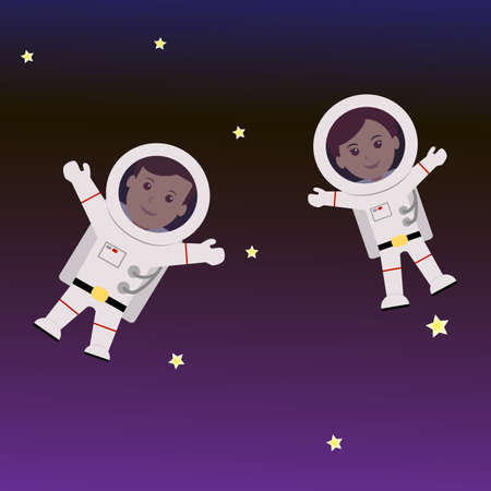 astronaut: Man and Woman astronaut cartoon. Vector illustration