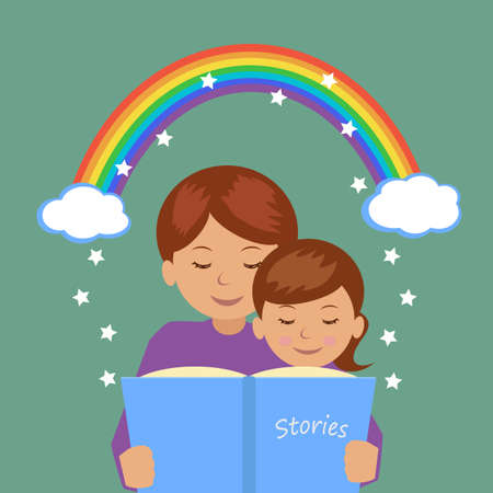 story: Mother reading her daughter the story. Vector illustration.