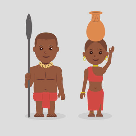 african warriors: Characters. Illustration of native African man and woman.