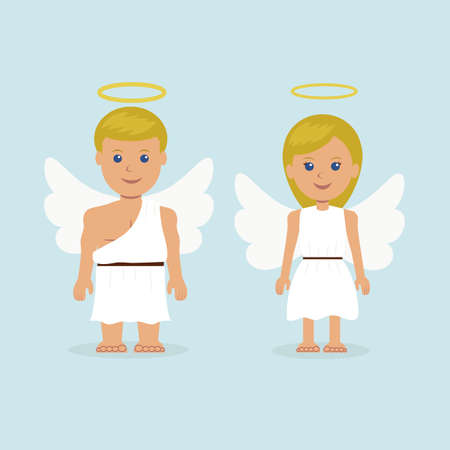 Illustration of a man and a woman dressed as an angel with wings and a halo.