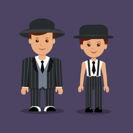 suspenders: Man and woman in gangster costumes. Vector illustration.