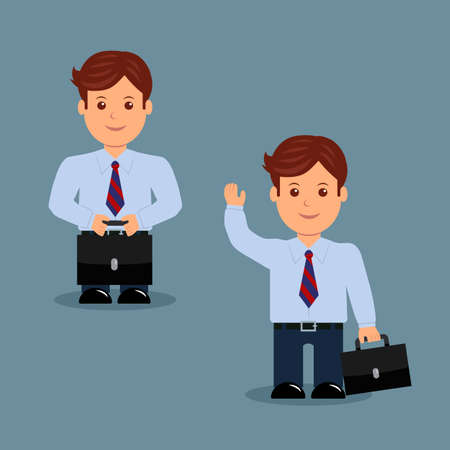 brandish: Set businessman with briefcase in a variety of activities. The character of a male in a flat design.