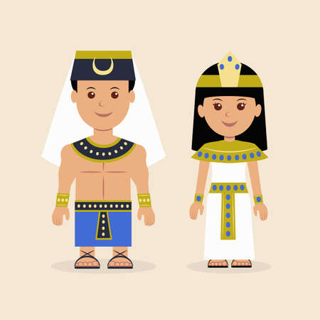 Male and female in the Egyptian attire. Characters of Pharaoh and the Cleopatra.