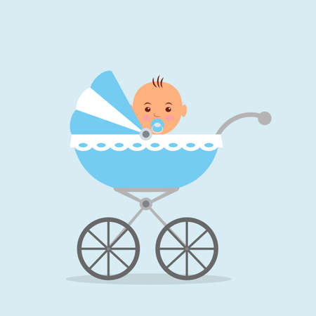 baby blue: Newborn baby sitting in the baby carriage.
