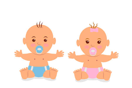 gemelos ni�o y ni�a: Two cute baby in diapers with a pacifier.