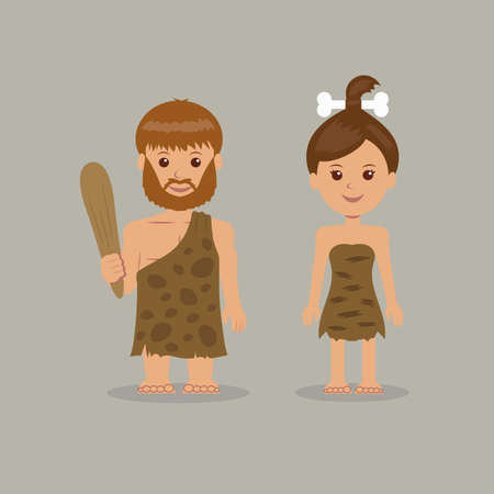 child girl: Cavemen. The characters of men and women in prehistoric outfits.