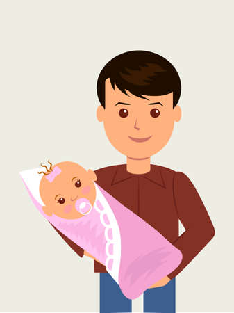 nipple young: Happy father with his newborn daughter, wrapped in a blanket. Illustration