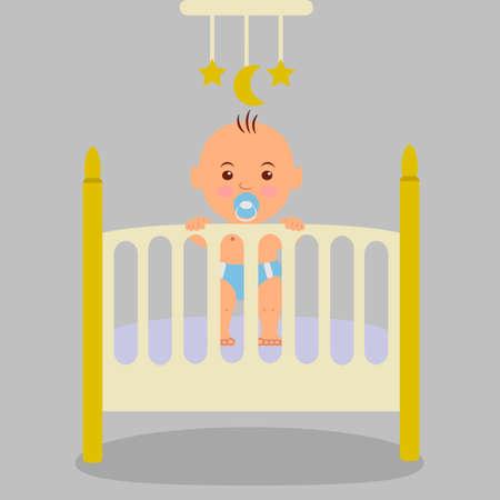 nene y nena: Un bebé recién nacido en la cuna, la celebración de las manos en el catre. Vectores
