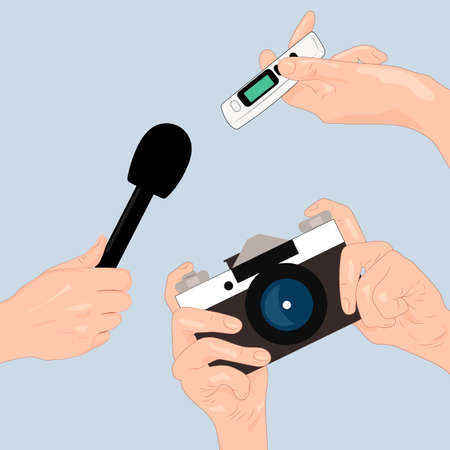 journalism: Journalism. Hands of journalists with microphone, camera and tape recorder.