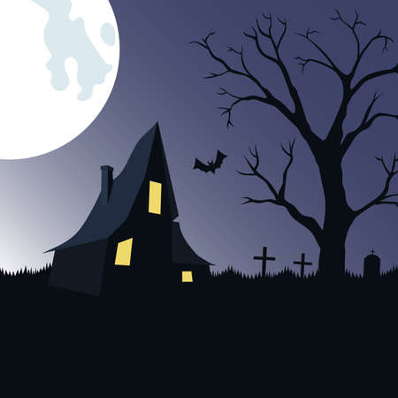 shack: Halloween night background with haunted house, tree  and cemetery.