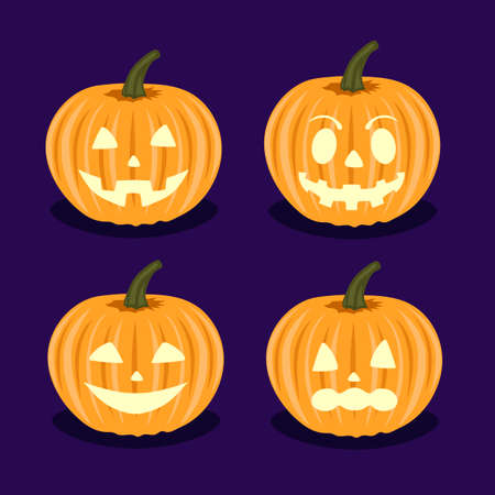 terrible: Set pumpkins with different emotions on Halloween.