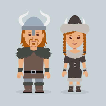 cartoon warrior: Characters vikings. Male and female in robes Scandinavian mariners.