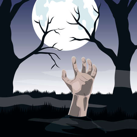rotting: Halloween the background. Zombie Hand sticking out of the ground at the full moon in the cemetery.